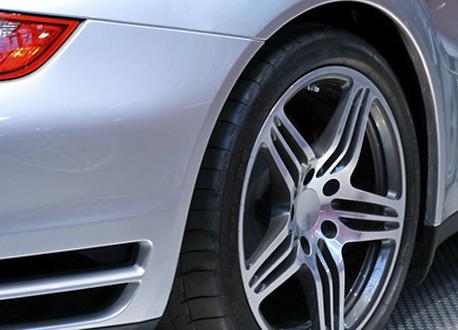 rear end of a german sportscars tire